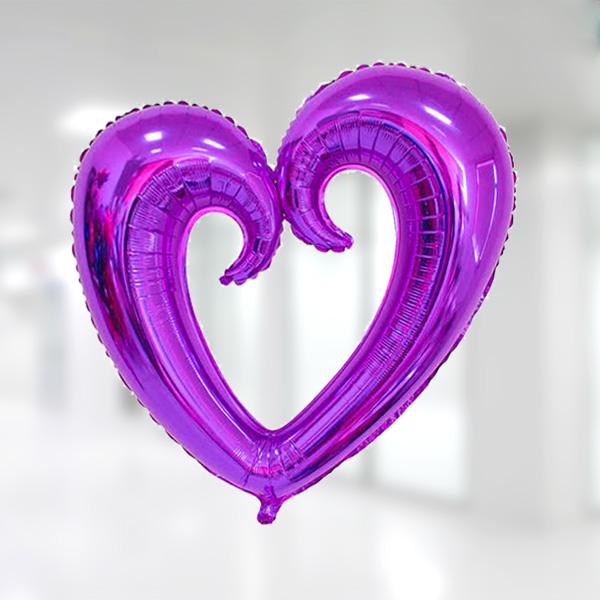 Kalp Şekilli Mor Renk Kıvrımlı Folyo Balon 96x109cm