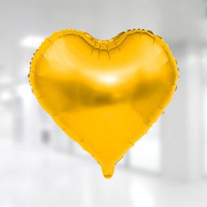 Kalp Şekilli Altın Renk Folyo Balon 45cm (18 inch)