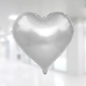 Kalp Şekilli Gümüş Renk Folyo Balon 45cm (18 inch)