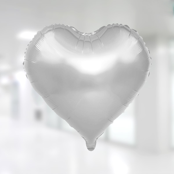 Kalp Şekilli Gümüş Renk Folyo Balon 25cm (10 inch)