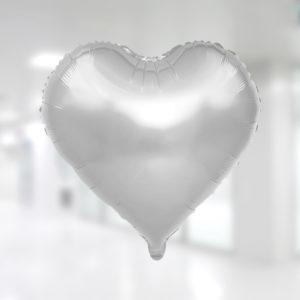 Kalp Şekilli Gümüş Renk Folyo Balon 60cm (22 inch)