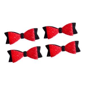 Kırmızı-Siyah Simli Eva Fiyonk Paket Süsü 5 x 2cm 10 Adet