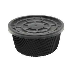 Çorba Kase Tırtıklı Siyah Plastik Kap+Kapak 16 OZ 500 adet