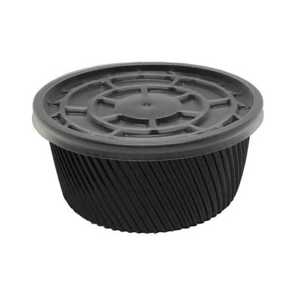 Çorba Kase Tırtıklı Siyah Plastik Kap+Kapak 16 OZ